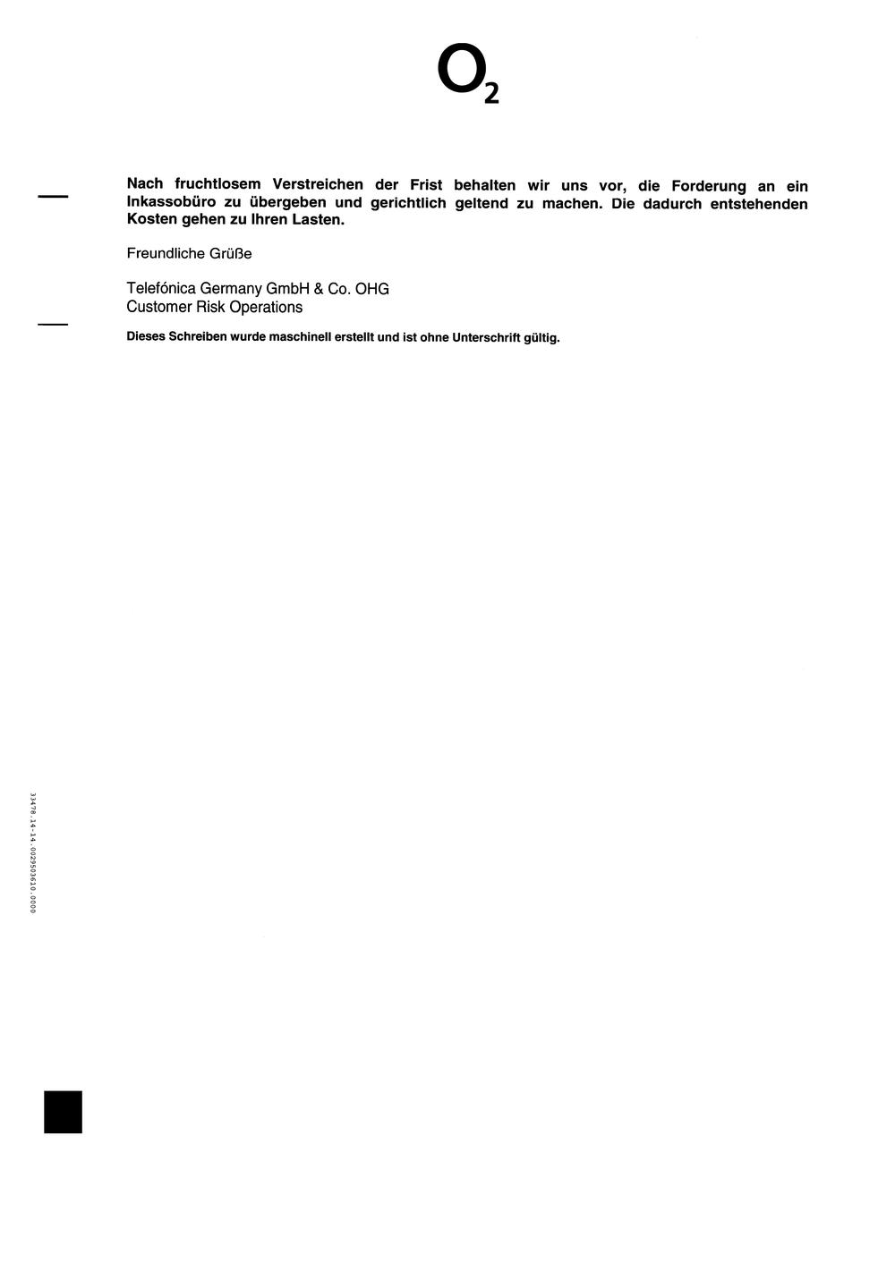 Antwortschreiben an die Telefonica Germany GmbH & Co. OHG ...